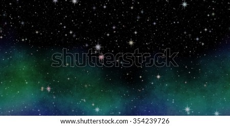 Panoramic looking into deep space. Dark night sky full of stars. The nebula in outer space. - stock photo