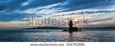 Panoramic maidens Tower - stock photo