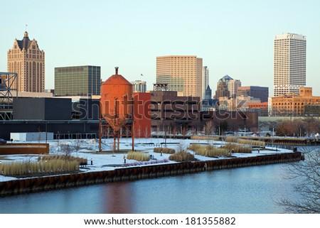 Panoramic Milwaukee, Wisconsin. Morning time. - stock photo