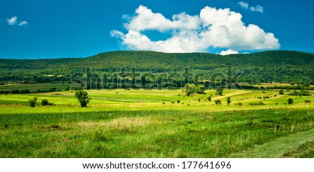 Panoramic mountain landscape scenic  - stock photo