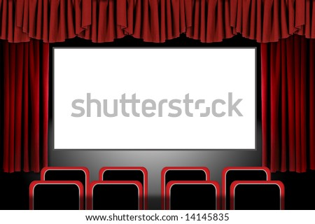 Panoramic Movie Theater With Drapes and Seats: Illustration in Photoshop - stock photo