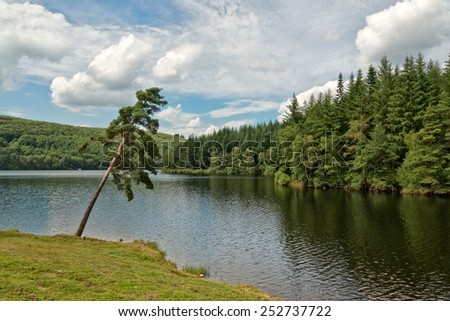 Panoramic Nature View of Tranquil River with Green Trees and Mountains on the Side Under a Cloudy Sky. - stock photo