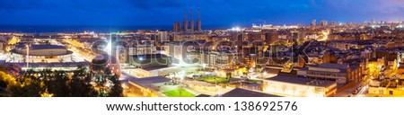 Panoramic night view of Barcelona. Catalonia, Spain