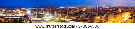 Panoramic night view of Barcelona from Badalona. Catalonia, Spain - stock photo