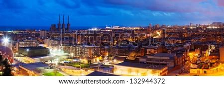 Panoramic night view of Barcelona.  Spain - stock photo
