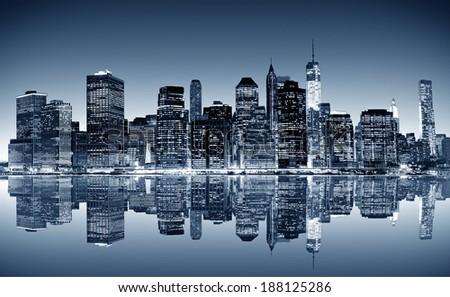 Panoramic night view of Manhattan. New York city. - stock photo