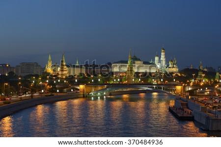 Panoramic night view of Moscow Kremlin - stock photo