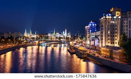 Panoramic night view of Moscow Kremlin, Russia - stock photo