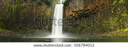 Panoramic of Abiqua Falls, a waterfall in the rain forests of Oregon