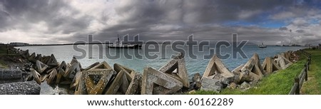 Panoramic of Cape Town harbor - Duncan Dock - stock photo