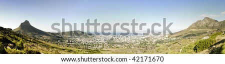 Panoramic of Cape Town shot from the base of Table Mountain - stock photo