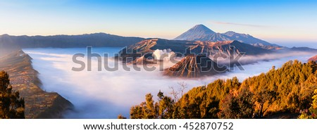 Panoramic of Mt.Bromo in Tengger Semeru National Park, East Java, Indonesia - stock photo