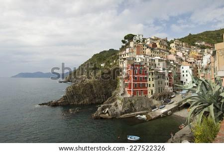 Panoramic of Riomaggiore, La Spezia, Liguria, Italy - stock photo