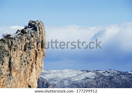 Panoramic of snow mountain in Alicante, Spain - stock photo