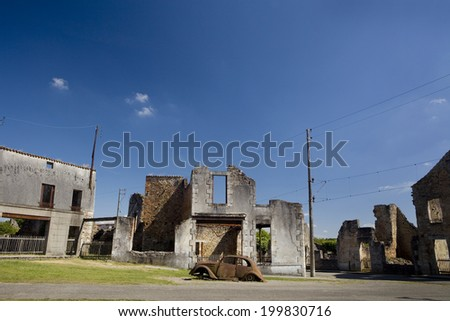 Panoramic of the french village of Oradour-sur-Glane.  Car on Oradour sur Glane.