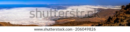 Panoramic of the view from the top of Teide volcano. - stock photo