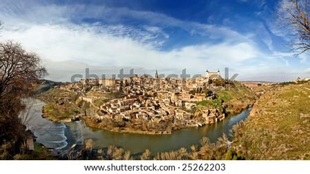 Panoramic of Toledo, Spain - stock photo