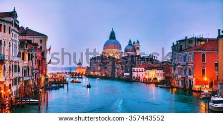 Panoramic overview of basilica Di Santa Maria della Salute in the evening - stock photo