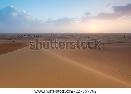 Panoramic photo of a landscape of a desert in the United Arab Emirates - stock photo