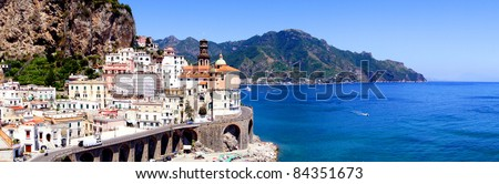 Panoramic photo of Atrani, a village on the Amalfi Coast of Italy - stock photo