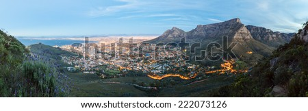 Panoramic photo of Cape Town at dusk from Lion's Head - landscape exterior