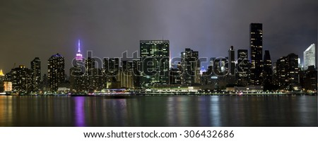 Panoramic photo of Manhattan. Taken from Long Island City in Queens New York. - stock photo