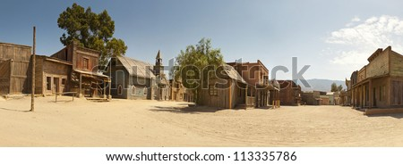 Panoramic photo of the western movie town Fort Bravo. Texas Hollywood. Desierto de Tabernas, Almeri�a. Andalusia. Spain. - stock photo