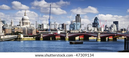 Panoramic picture of Central London. This view includes: St Paul's Cathedral, and skyscrapers of City of London. - stock photo