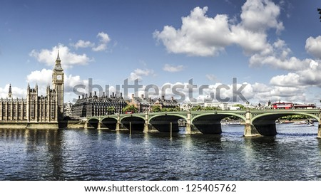 Panoramic picture of Houses of Parliament, Big Ben and Westminster Bridge, London - stock photo