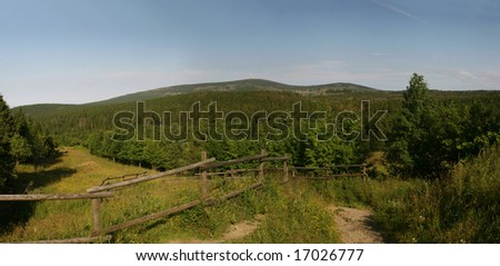 Panoramic picture of mount Brocken in the national park Harz, Germany