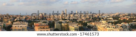 Panoramic picture of Tel Aviv from the city of Jafo - stock photo