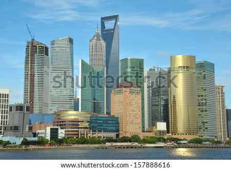 panoramic picture of the lujiazui financial center in shanghai china