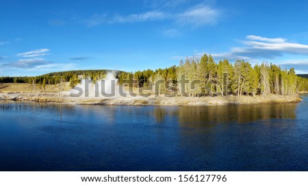 Panoramic picture of Yellowstone National Park, Wyoming, United States - stock photo
