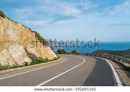 Panoramic road along the coast in Teulada, Sardinia, Italy - stock photo
