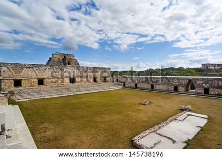 Panoramic ruins of Uxmal Mexico - stock photo
