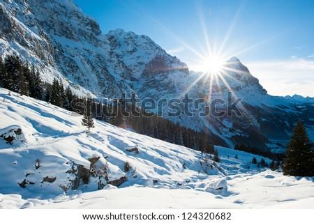 Panoramic scenery above Grindelwald, Switzerland in winter - stock photo