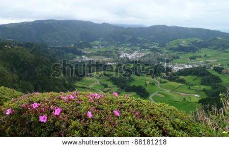 panoramic scenery at Sao Miguel Island - stock photo