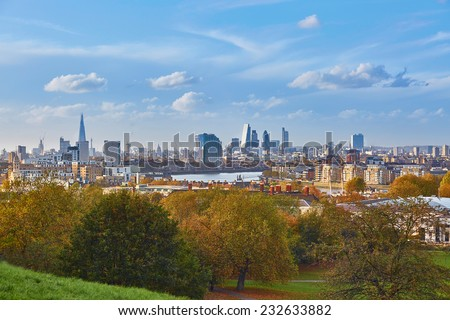 Panoramic scenic view of London cityscape seen from Greenwich - stock photo