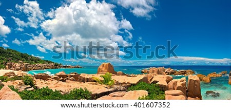 Panoramic seascape view with a huge stones, Seychelles, La Digue island - stock photo
