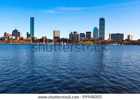 Panoramic shot of Boston in Massachusetts by the Charles River bed on a sunny spring day.