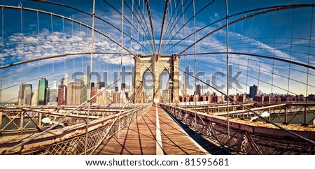 Panoramic shot of Brooklyn bridge - stock photo