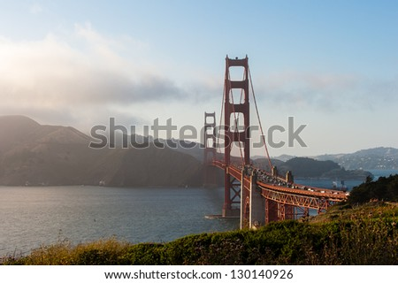 Panoramic Shot of the Golden Gate Bridge, at evening time.