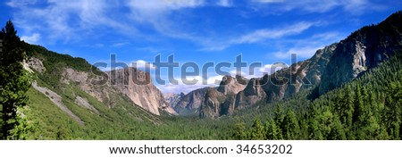 Panoramic Shot of Tunnel View In Yosemite National Park - stock photo