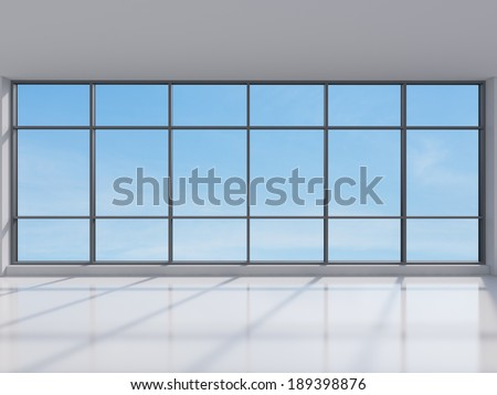 Panoramic sky view, office. - stock photo