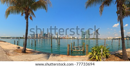 Panoramic skyline view of downtown Miami and Biscayne Bay. - stock photo