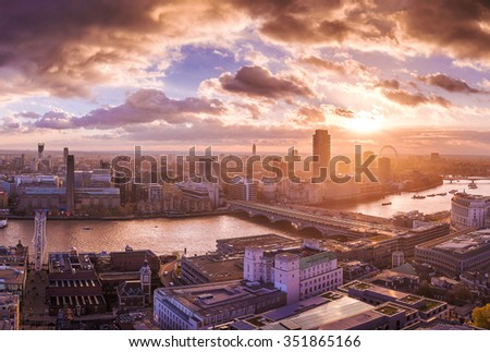 Panoramic skyline view of south and west London at sunset - UK - stock photo
