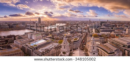 Panoramic skyline view of south and west London at sunset with beautiful clouds. - stock photo