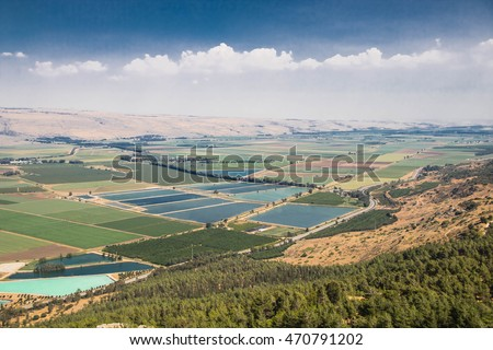 Panoramic spring landscape of Israel