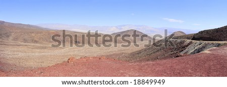 Panoramic Stitch: Mountain And Grassland Scrub In Death Valley