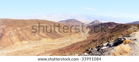 Panoramic Stitch Velvia: Mountain And Grassland Scrub In Death Valley National Park California USA
